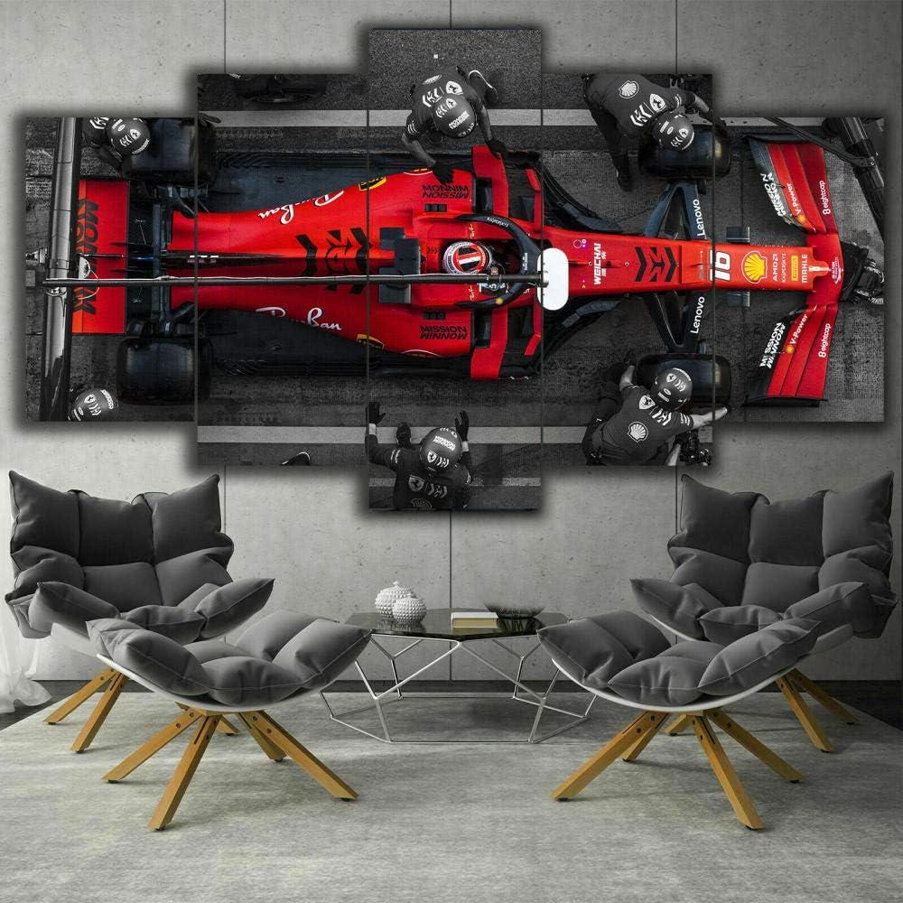 hgjfg Lona Murales Cuadro Moderno en Lienzo 5 Piezas XXL Impresiones En F1 Ferrari Charles Leclerc Pit HD Arte De Pared Imágenes Modulares Sala De Estar Decoración para El Hogar 150X80Cm