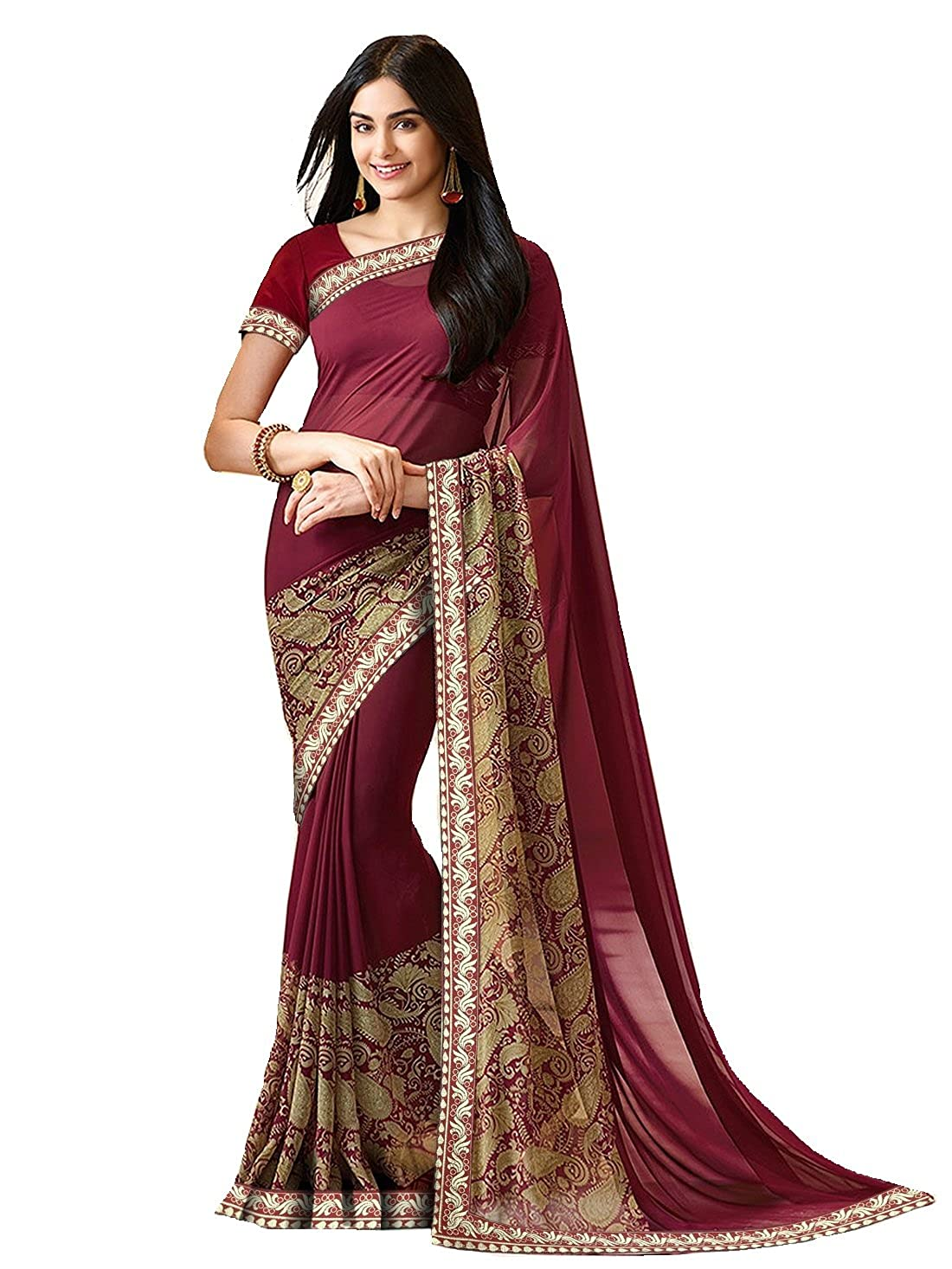 32bf3db0cd7ba7 Antique Store Red Bangalory Silk Saree With Blouse  Amazon.in  Clothing    Accessories