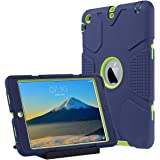 iPad Mini Case, iPad Mini 2/3 Case - ULAK 3in1 Hybrid Heavy Duty Shockproof Kickstand Cover Case For iPad Mini/ iPad Mini 2/ iPad Mini 3, Navy + Green
