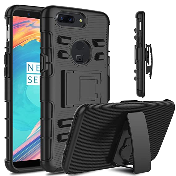 premium selection 8f0ff 6d88f OnePlus 5T Case, Venoro Heavy Duty Shockproof Armor Holster Defender Full  Body Rugged Protective Case Cover with Kickstand and Belt Swivel Clip for  ...