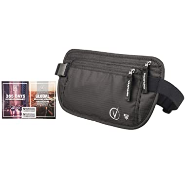 Money Belt For Travel Hidden, RFID Protected Waist Wallet, Fits Passport with cover, Includes 2 Global Recovery Tags (Regular, Black)