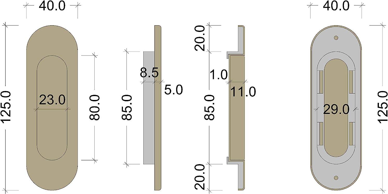 /Modelo Trion de R 3663 Juva M/öbelgriff/ 125/x 40/mm /Puerta corredera EL-01/ /Tirador ovalado Puerta corrediza lat/ón bronce bru/ñido/ 1/unidades con tornillos