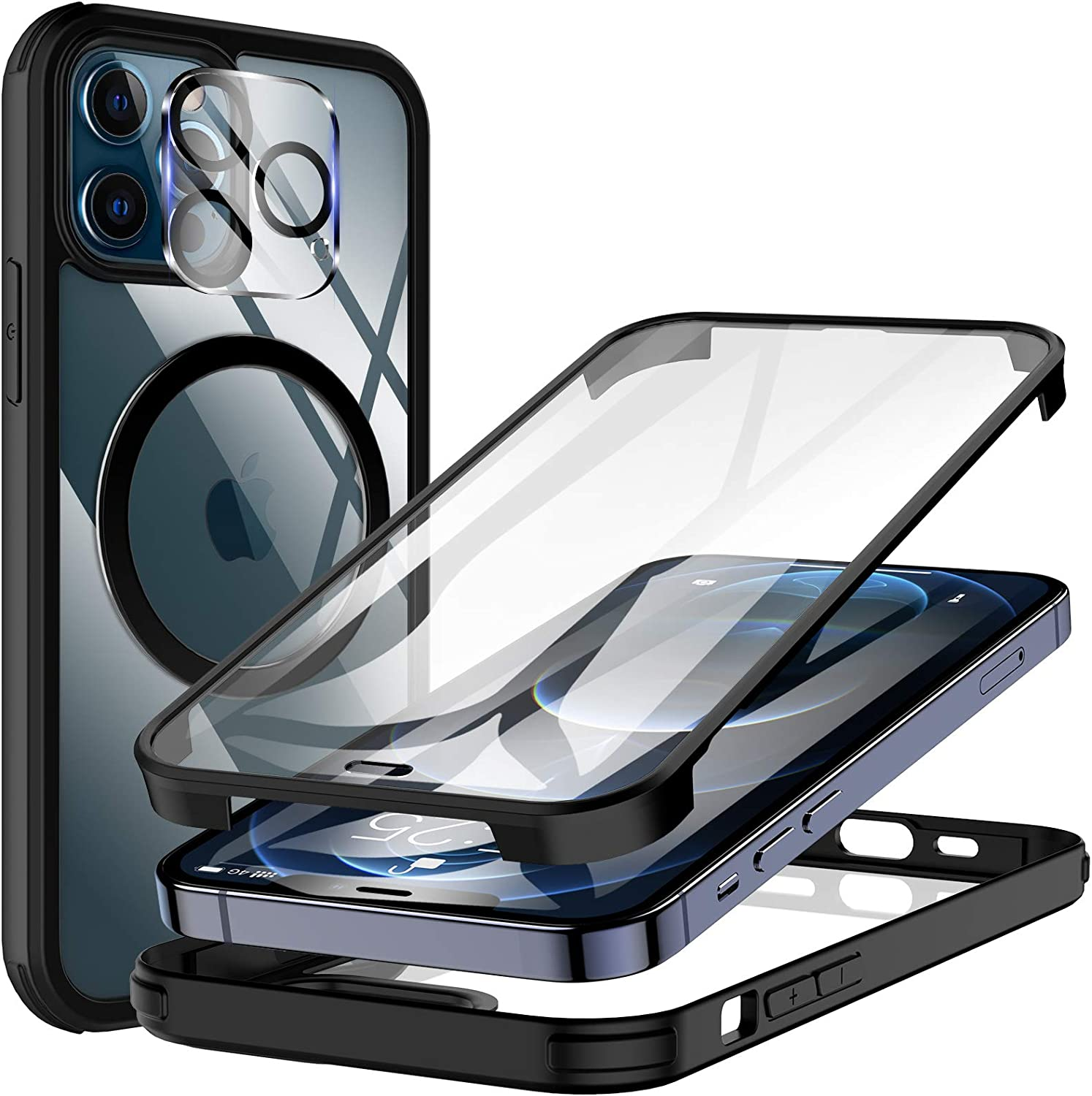 KKM Tempered Glass Case Designed for iPhone 12 Pro Max 6.7-inch, with Camera Lens Protector, Compatible with Magnetic Charger, Shockproof Bumper,Full Body Protective Cover - Black