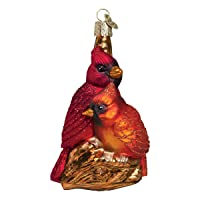 Image of Blown Glass Northern Cardinals Christmas Ornament