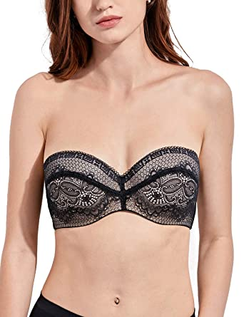 f778366d21 DELIMIRA Women s Slightly Padded Lace Underwire Convertible Multiway  Strapless Bra Black 30C