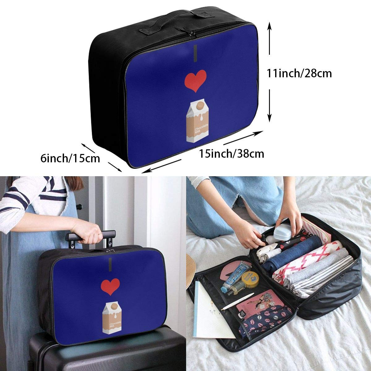 Travel Luggage Duffle Bag Lightweight Portable Handbag I Love Choccy Milk Large Capacity Waterproof Foldable Storage Tote