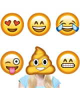 Kimilar 6 set Emoji Party Masks funny Photo Booth Props for Wedding Party Reunions Birthdays Photo booth Dress-up Accessories(Reusable, NOT cardboard!)