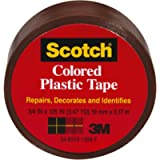 Scotch Black Colored Plastic Tape, 1.5 inches by 125 inches, Brown, 191BN, 6 Rolls