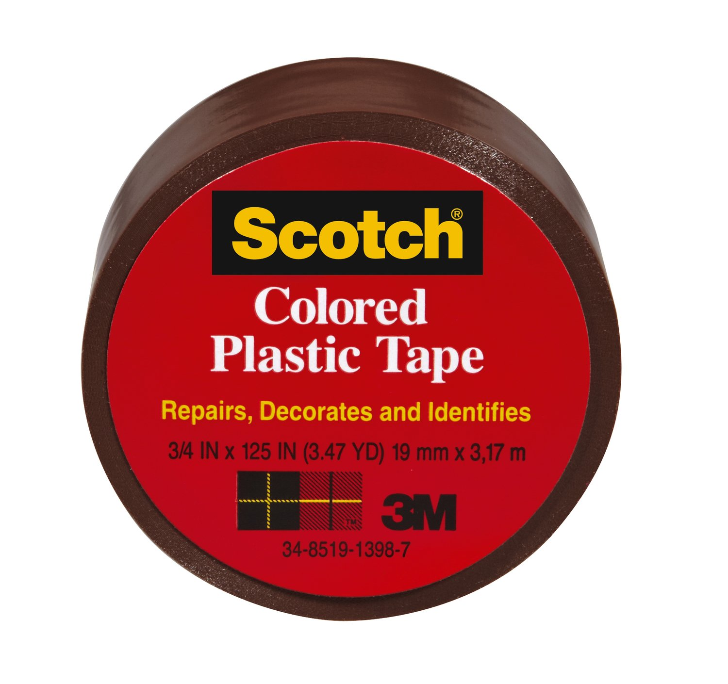 Scotch 191BN 6 Colored Plastic Tape 1.5 Inch x 125 Inch Brown