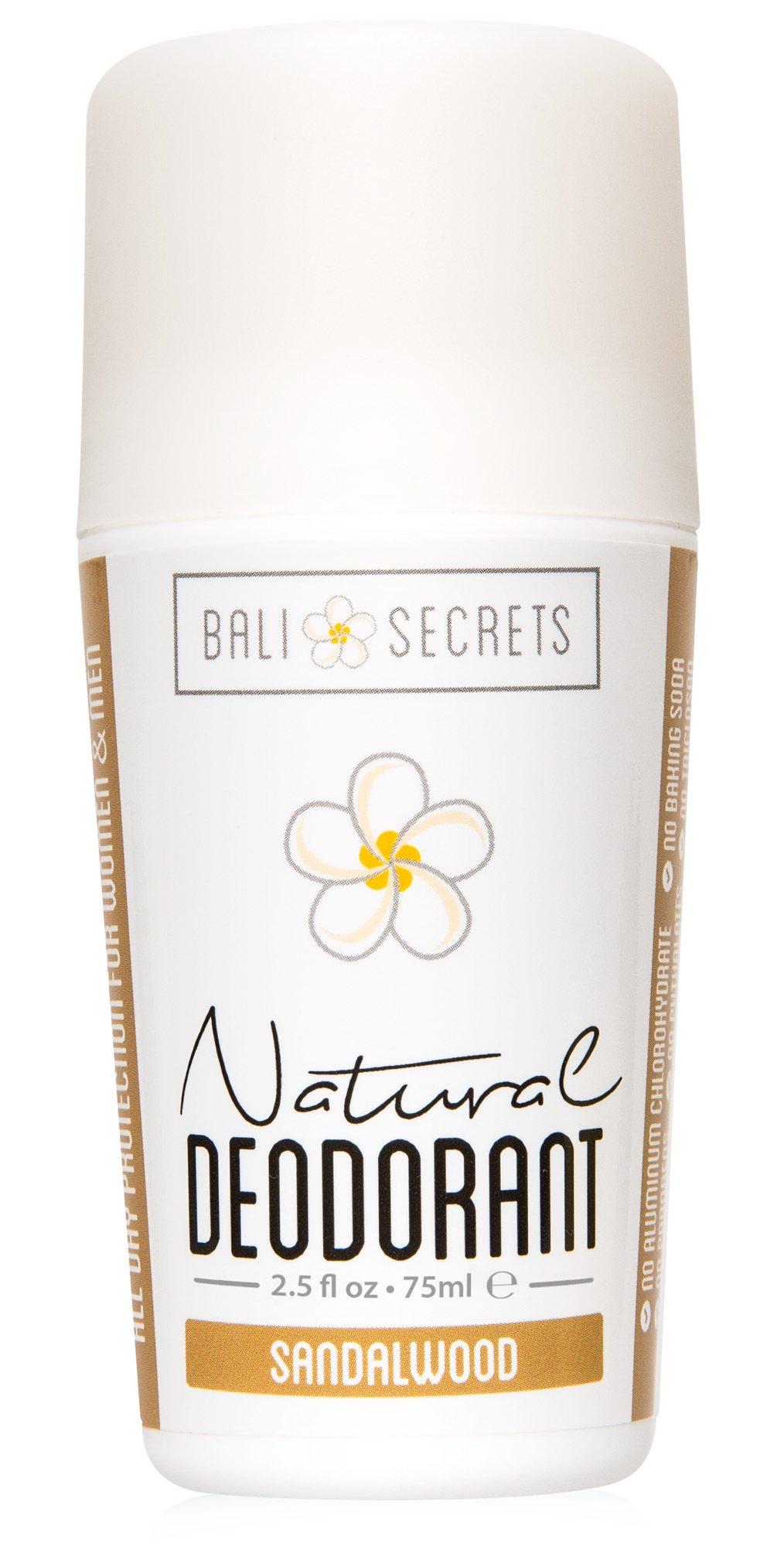Bali Secrets Natural Deodorant - Organic & Vegan - For Women & Men - All Day Fresh - Strong & Reliable Protection - 2.5 fl.oz/75ml [Scent: Sandalwood]