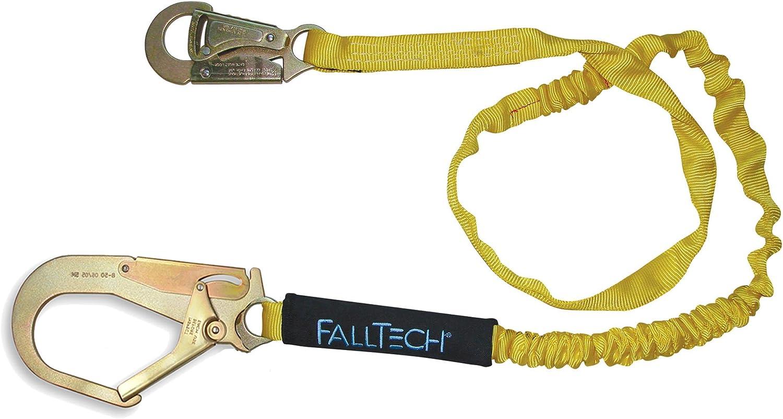 FallTech 82403 ElasTech 6-Foot Shock Absorbing Lanyard with Rebar Hook 4 Pack