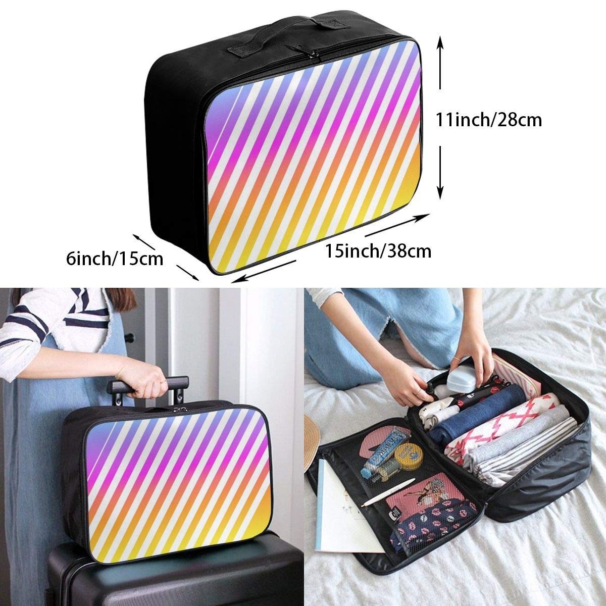 Abstract Line Travel Lightweight Waterproof Foldable Storage Carry Luggage Large Capacity Portable Luggage Bag Duffel Bag