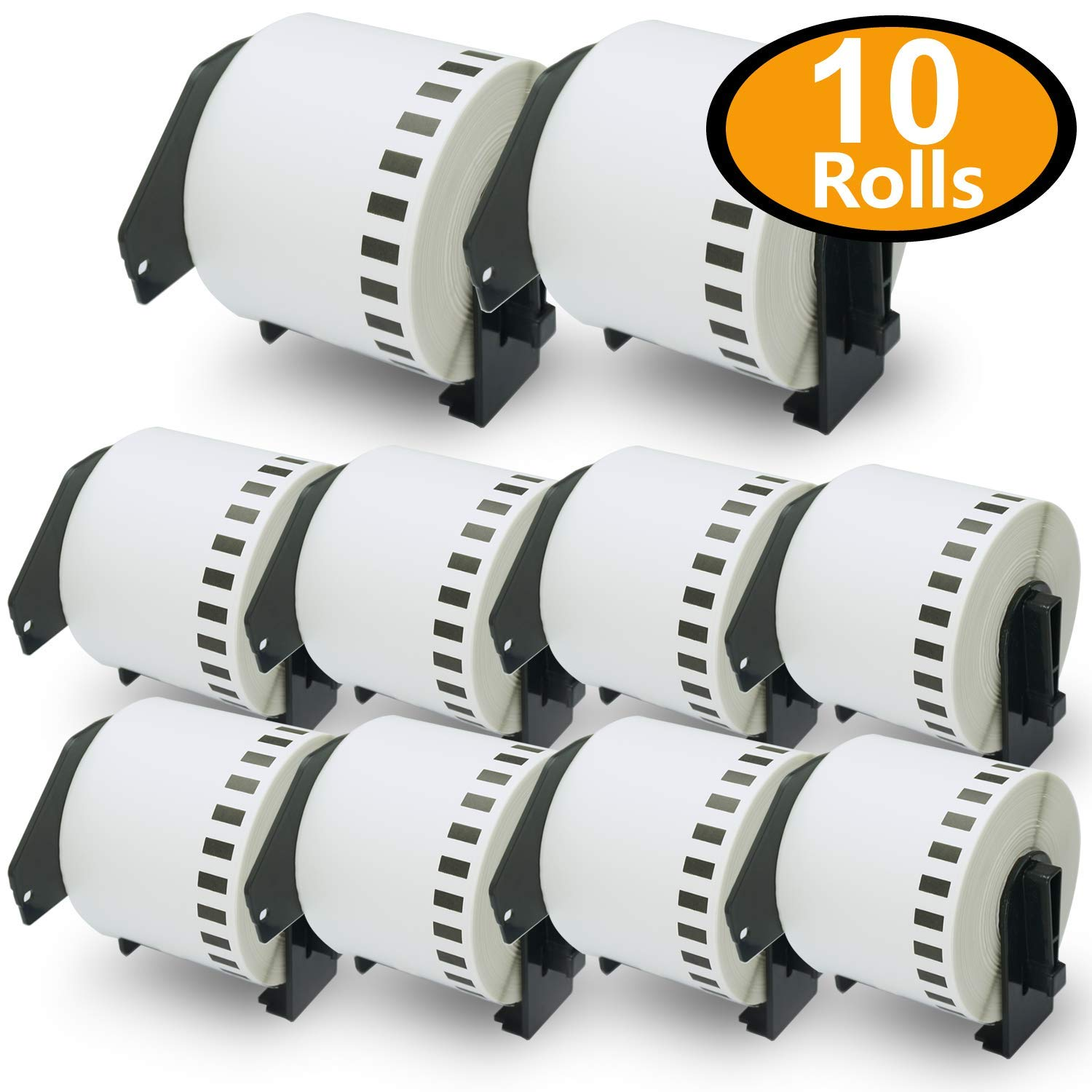 10 Rolls Brother-Compatible P-Touch DK-2205 62mm x 30.48m(2-3/7 x 100') Continuous Length Paper Tape Labels With Refillable Cartridge BETCKEY DK22205-Y10