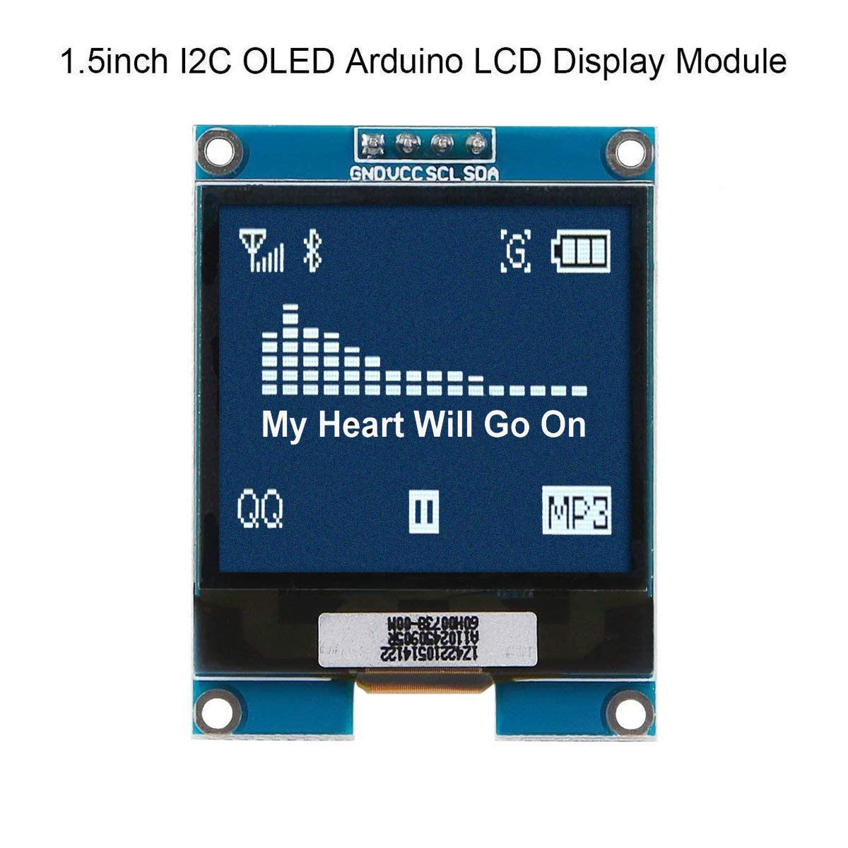 MakerHawk I2C OLED Display Module 1 5 Inch OLED Module Arduino LCD Display  SSD1327 Driver Chip, 128x128 Pixels, 16-bit Grey Level with I2C Interface,