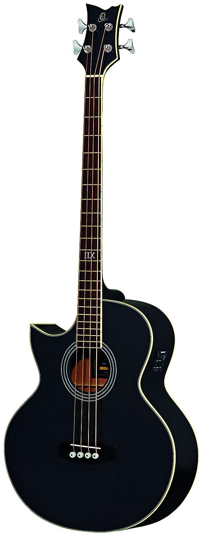 Ortega D1-4LE-BK Akustikbass 4-Saiter elektrifiziert Linkshä nder schwarz hochglä nzendes Finish mit hochwertigem Gigbag, Ledergurt und Straplocks