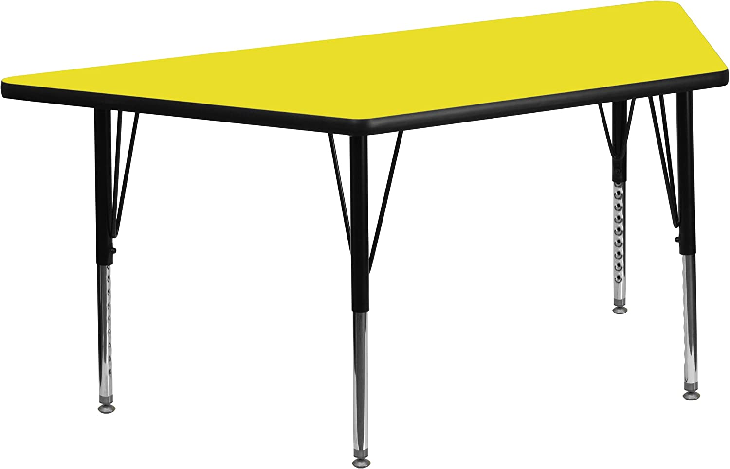 Flash Furniture 25''W x 45''L Trapezoid Yellow HP Laminate Activity Table - Height Adjustable Short Legs