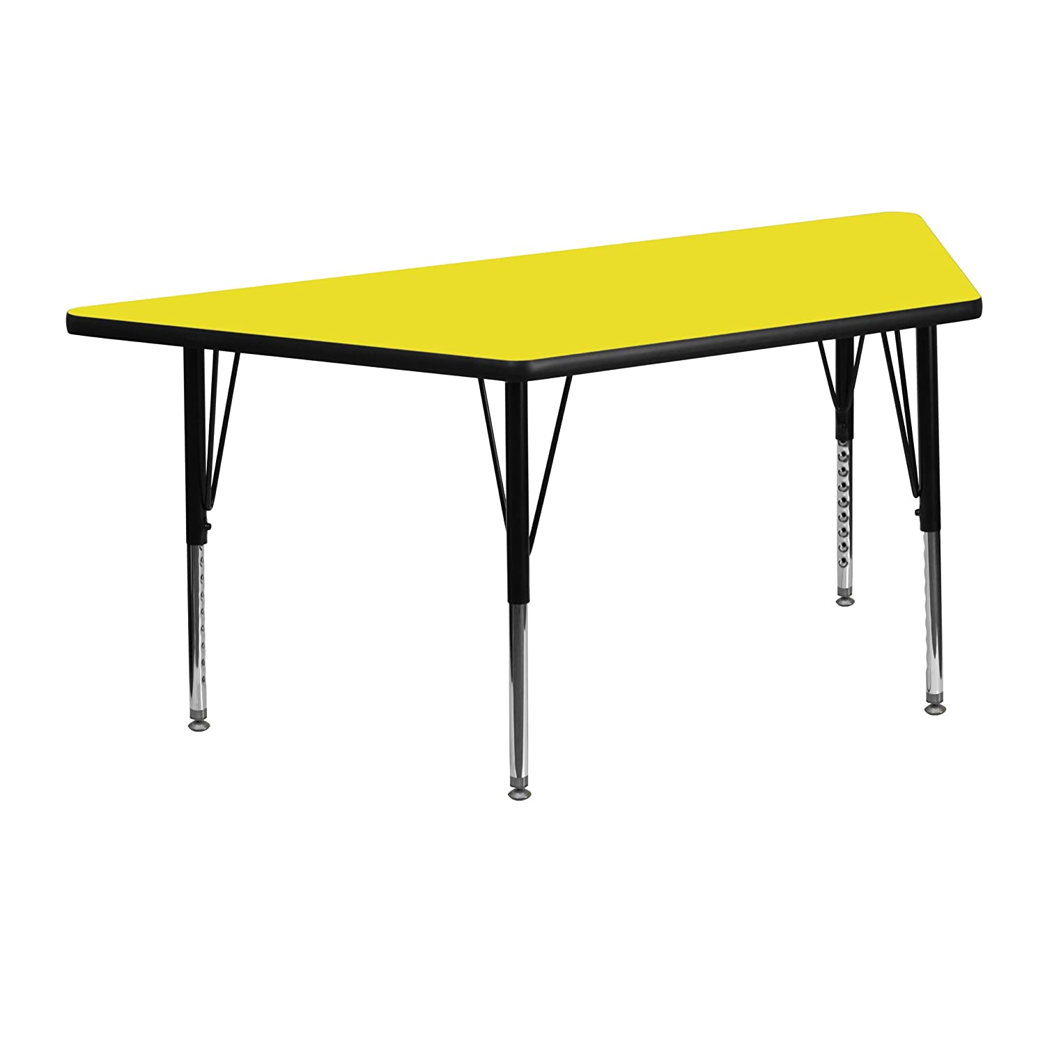 Flash Furniture 25.5W x 46.25L Trapezoid Grey HP Laminate Activity Table Height Adjustable Short Legs