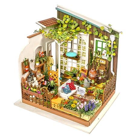 Amazon Com Robotime Diy Miniature Dollhouse Kit Garden House With