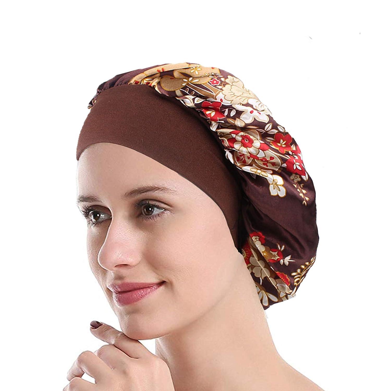 Womens Sleep Night Cap Wide Band Satin Bonnet for Hair Beauty,Hair Care Cap,Chemo Beanie,Curly Springy Hair
