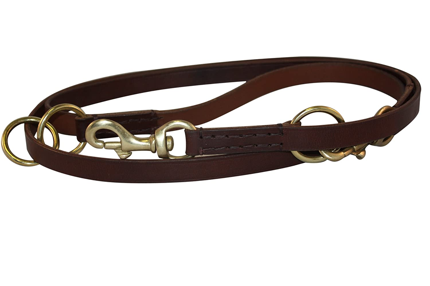 Leather Multi-Function Leash, 7' x 3/4, Brown, 100% Genuine Bridle Leather. Multiple uses: 4, 5 or 6 Foot Leash/Walk your dog hands-free/Walk 2 dogs 7' x 3/4 Angel Pet Supplies Inc. 40031