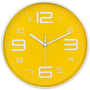 45Min 10-Inch 3D Number Dial Face Modern Wall Clock, Silent Non-Ticking Round Home Decor Wall Clock with Arabic Numerals, 7 Color Dial Face (Yellow)