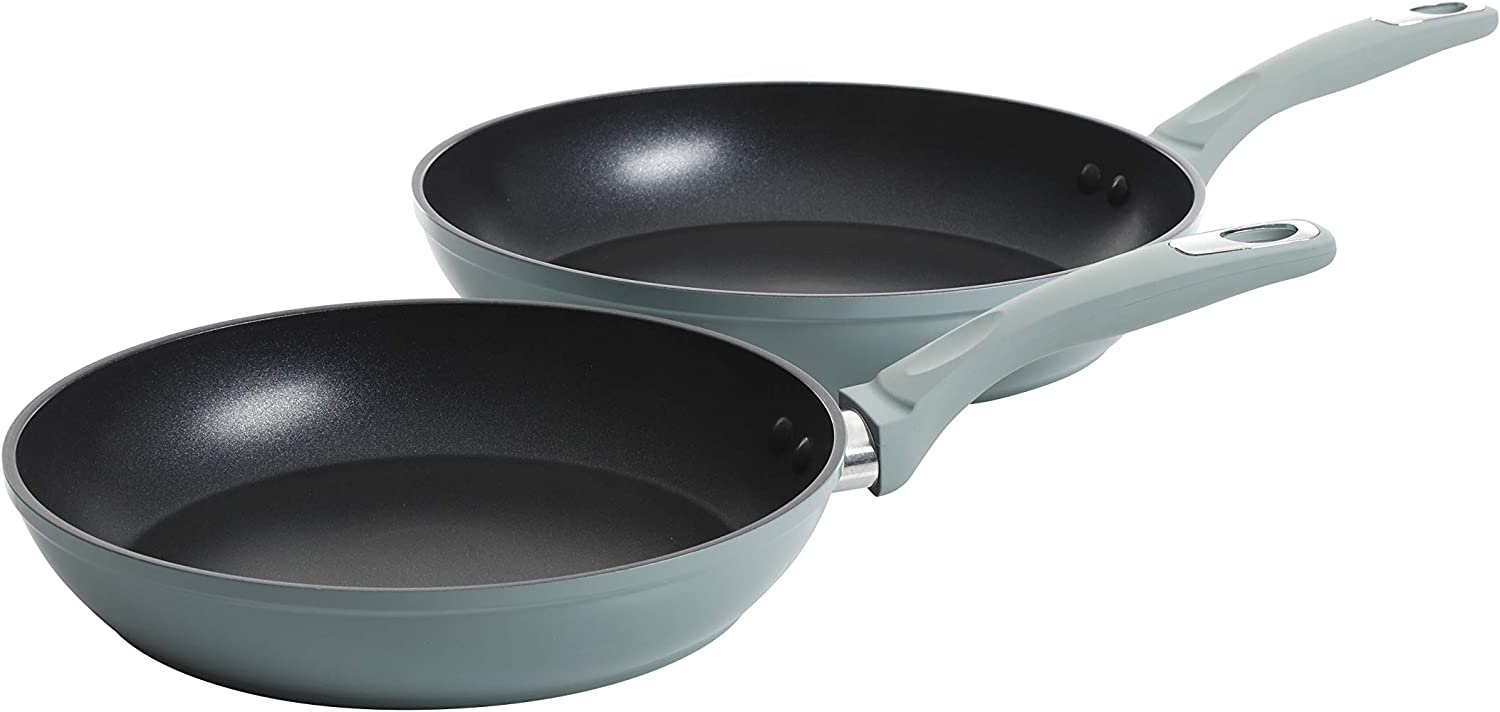 "Oster 11"" & 8"" Aluminum Fry Pans-Dusty Blue-Nonstick, 2-Piece"