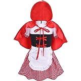 CHICTRY Disfraz Caperucita Roja Bebe Niña Vestido de Princesa Niñas + Capa con Capucha Roja para Halloween Navidad Fiesta Cosplay Dos Piezas