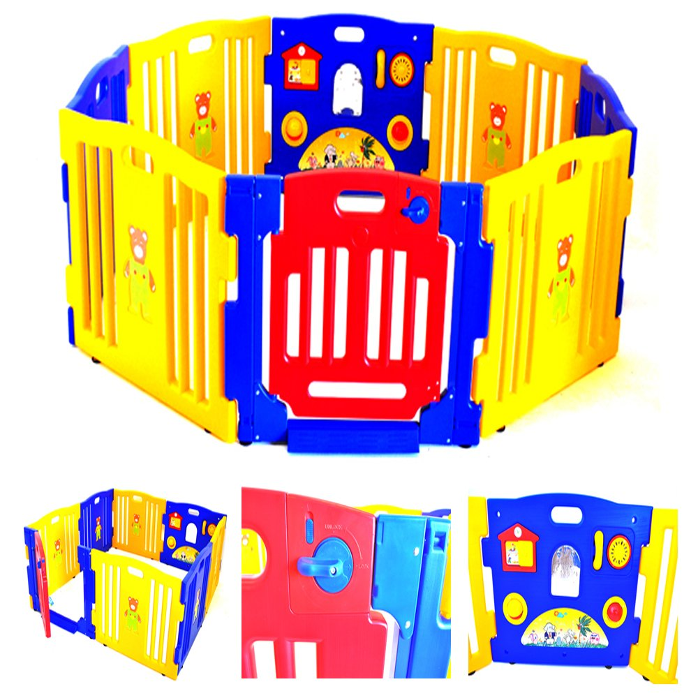 Baby Playpen Kids 8 Panel Safety Play Center Yard Home Indoor Outdoor Pen Playard