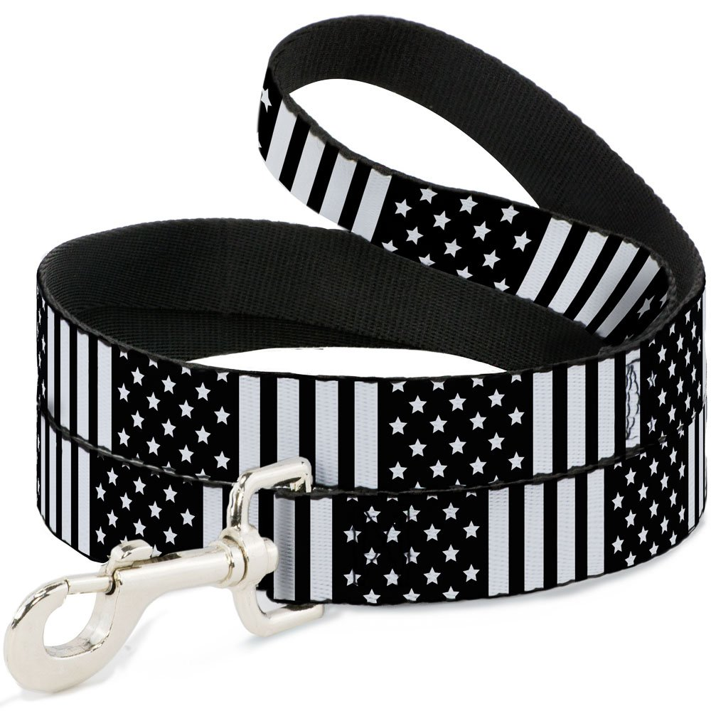 Buckle-Down DL-6FT-W30132 American Flag Close-Up Black White Dog Leash, 6'