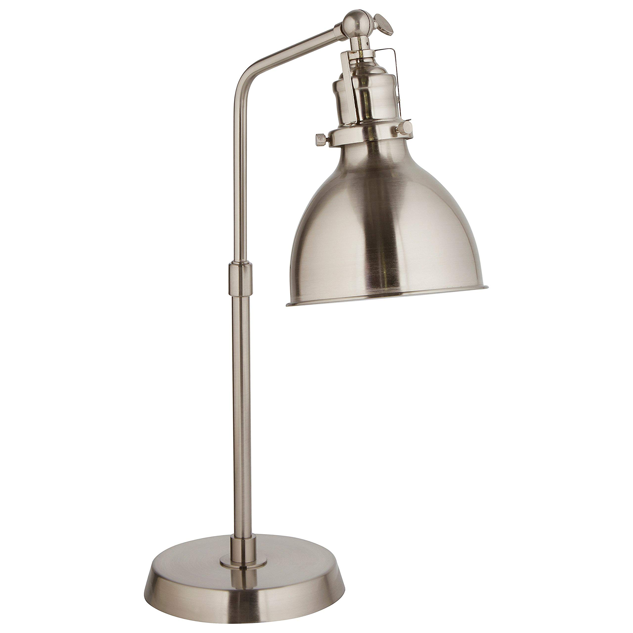 Rivet Pike Factory Industrial Table Lamp, 18''H, with Bulb, Brushed Steel