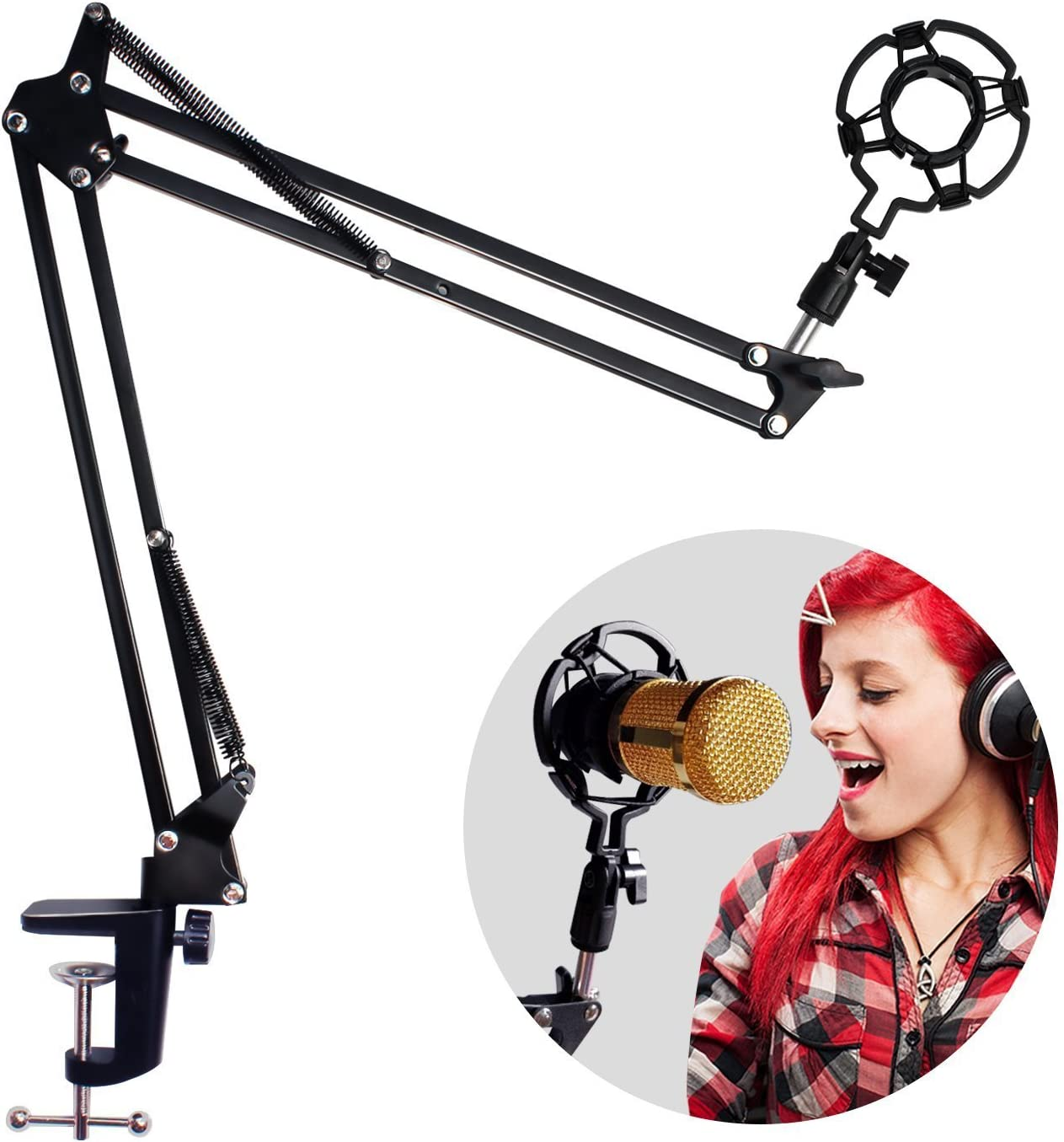 Adjustable Microphone Suspension Boom Scissor Arm Stand with Shock Mount Mic Clip Holder - Compact Mic Stand Made of Zinc Alloy - for Live Broadcasting, Podcast, Solo Artist