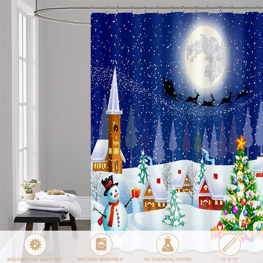 Htovila Christmas Duschvorhang 180x180 Anti-Schimmel Wasserdicht mit ...
