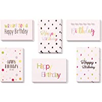 Boxed Pack of 24 Happy Birthday Greeting Cards with Envelopes, 6 Elegant and Fun Designs, 4 Cards of Each Design, High Quality 15cm by 10cm Cards
