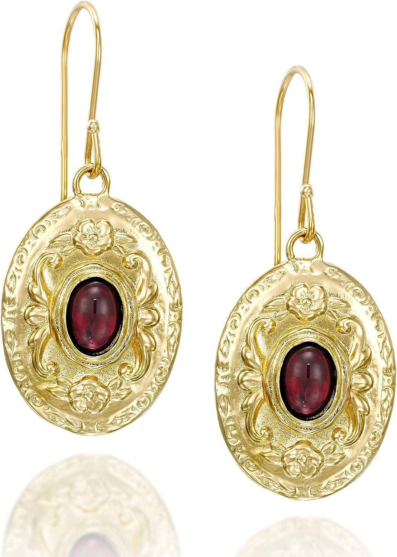 Pendientes de estilo antiguo con diseño floral, chapados en oro de 14 quilates, plata ovalada, con piedras rojas, joyería única para mujer
