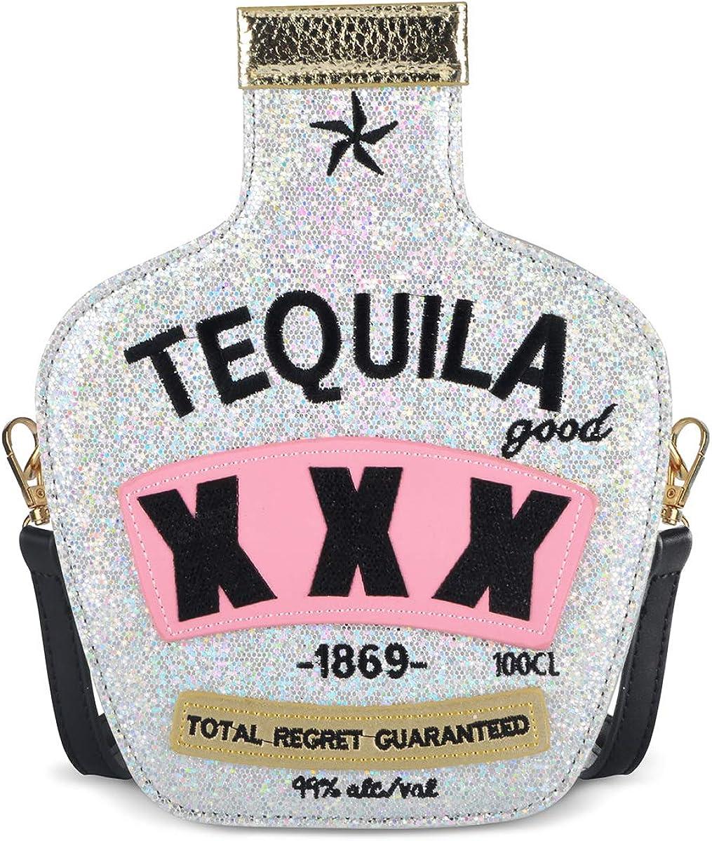 Sparkling Bag for Women, USTYLE Tequila Bottle Shaped Clutch Purse Elegant Handbag