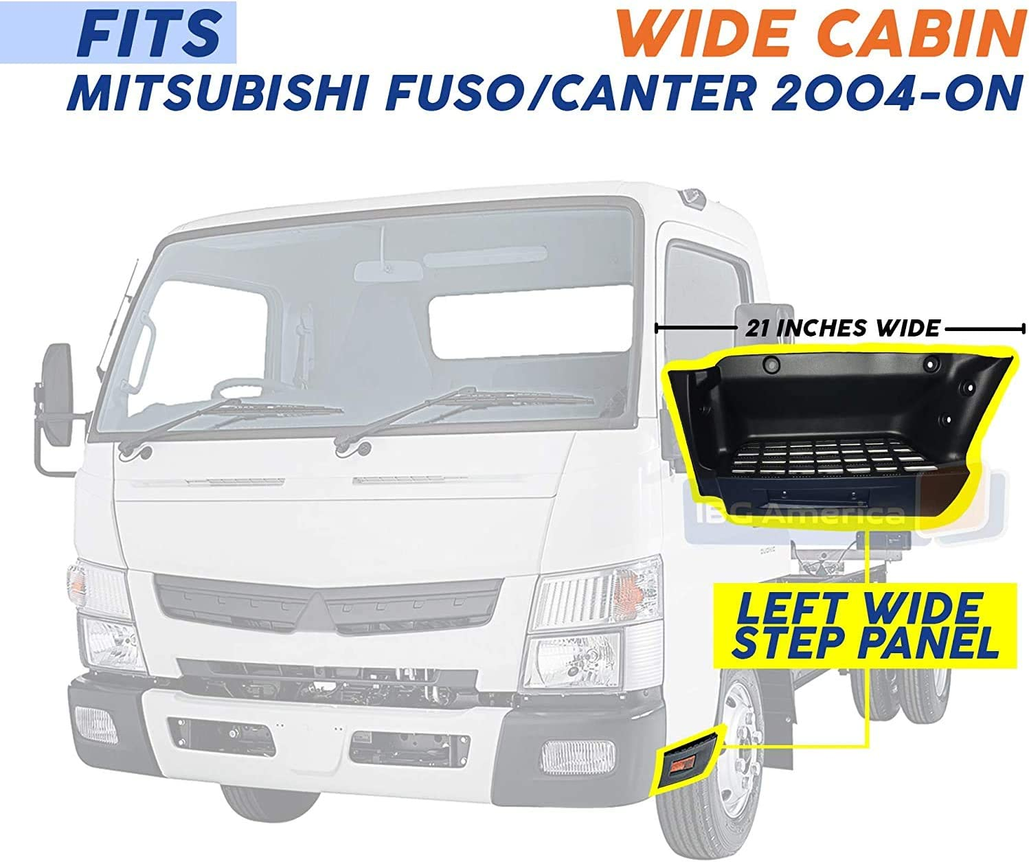 MITSUBISHI FUSO CANTER 21 INCHES LONG 2004-2020 PLATE STEP WITH REFLECTOR LH