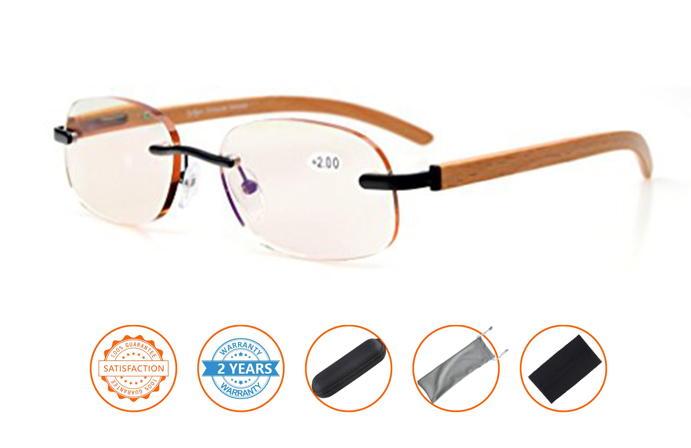 Anti Blue Rays,Reduce Eyestrain,UV Protection,Wood Temple Computer Gaming Reading Glasses Unisex(Black,Amber Tinted Lenses) +1.75