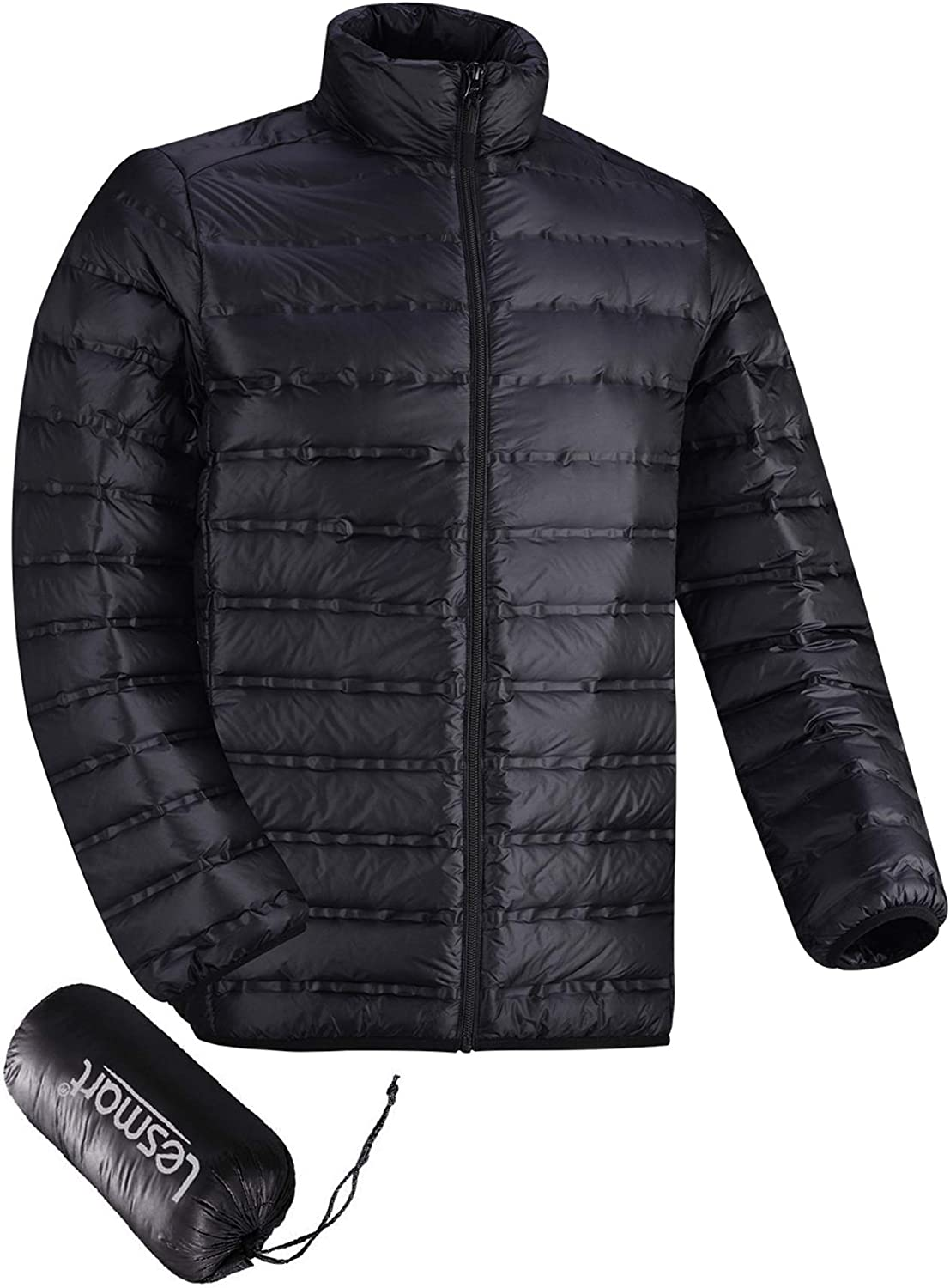 Lesmart Mens Down Puffer Jacket Lightweight Packable Winter Quilted Coat Warm Casual Outdoor: Clothing