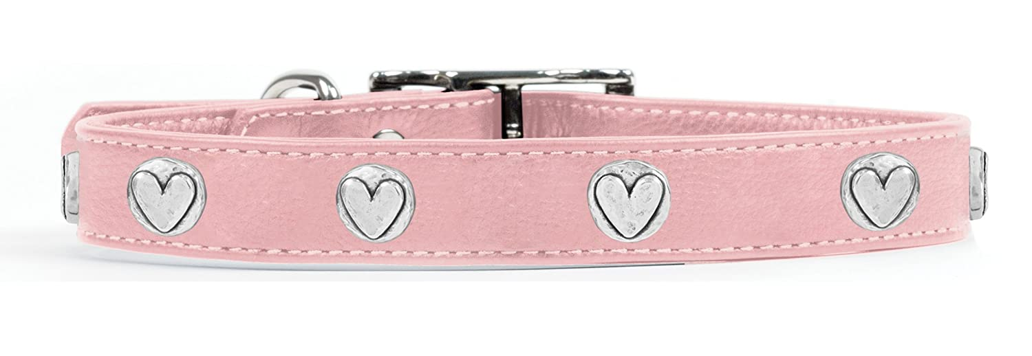 Rockin' doggie Heart Rivets Leather Dog Collar, 3 4 by 16-Inch, Pink
