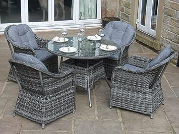 Wintergarten Möbel luxus grau rattan 4 sitz rund essgruppe garten oder wintergarten