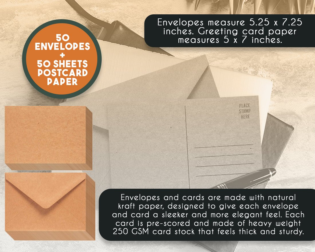 Amazon 50 Piece Brown Kraft Paper A7 Envelopes And 50 Sheet