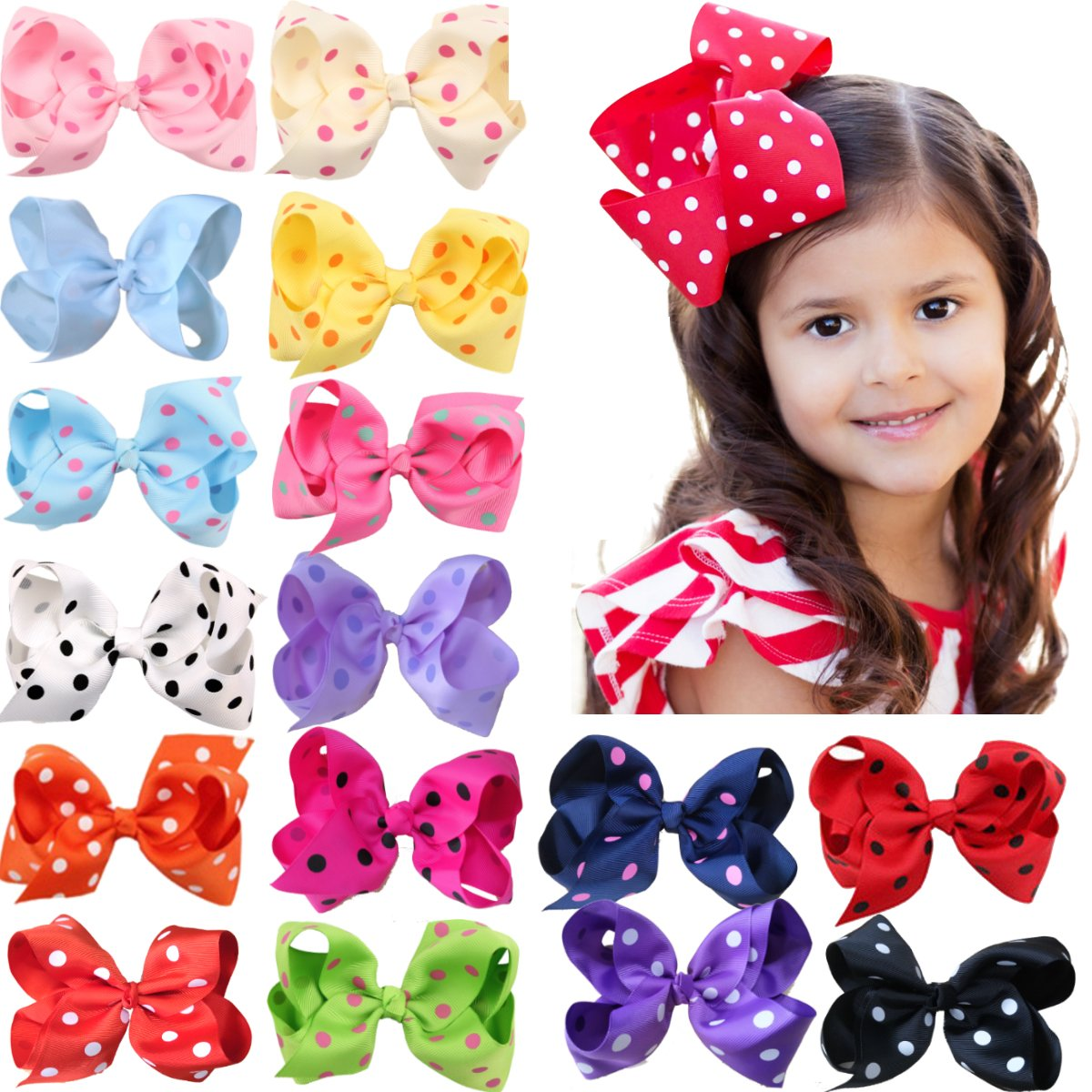 16Pcs 6'' Large Big Girls Hair Accessories Polka Dot Boutique Hair Bows Baby Girls Grosgrain Ribbon Hair Bows Clips for Toddlers Kids Children Teens