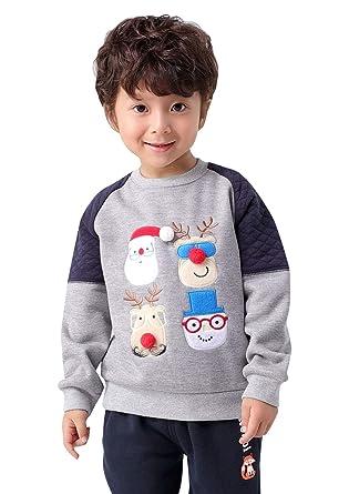 311944a279cdd mimiwinga Pull-over Bordé de Dessin pour Noël Gris Enfant Garçon Sweatshirt  Polaire Chaud Manche