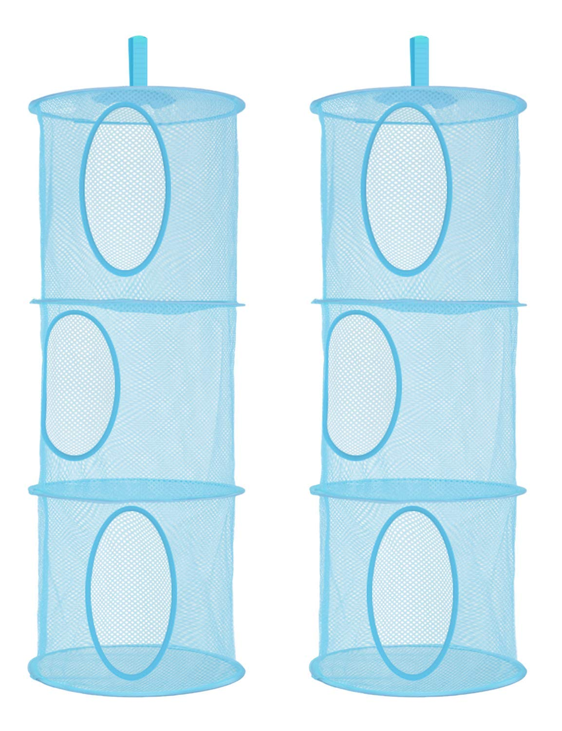 Libeder Mesh Hanging Storage Space Saver Bags Organizer,Foldable Storage Organizer 3 Compartments Toy Storage Basket for Kids Room Bathroom 2 Sets Blue