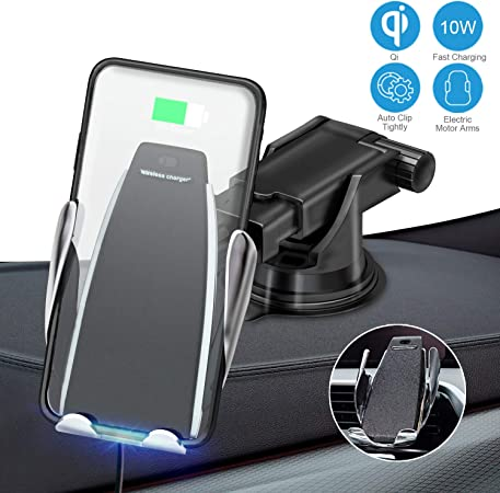 JJYu Wireless Car Charger Mount, Automatic Clamping Qi 10W 7.5W Fast Charging 5W Car Mount, Windshield Dashboard Air Vent Phone Holder Compatible with iPhone Xs Max XR 8, Samsung S10 S9 S8 Note 9