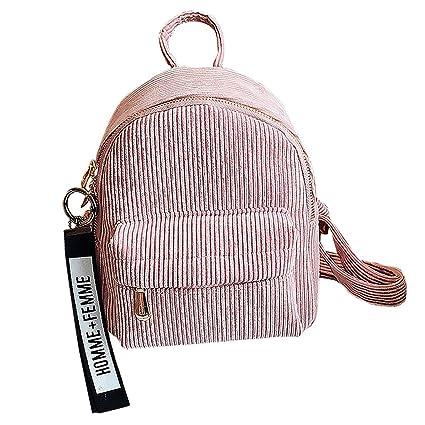 559482e5f1f6 JAGENIE Women Corduroy Mini Backpack Girls School Bags Small Travel Handbag  Shoulder Bag Pink  Amazon.co.uk  Kitchen   Home