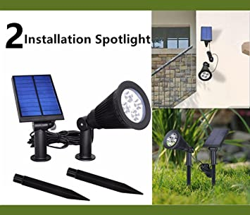Amazon howfine solar separable spotlight 2 installation howfine solar separable spotlight2 installation function outdoor and indoor led lightflag pole mozeypictures Gallery