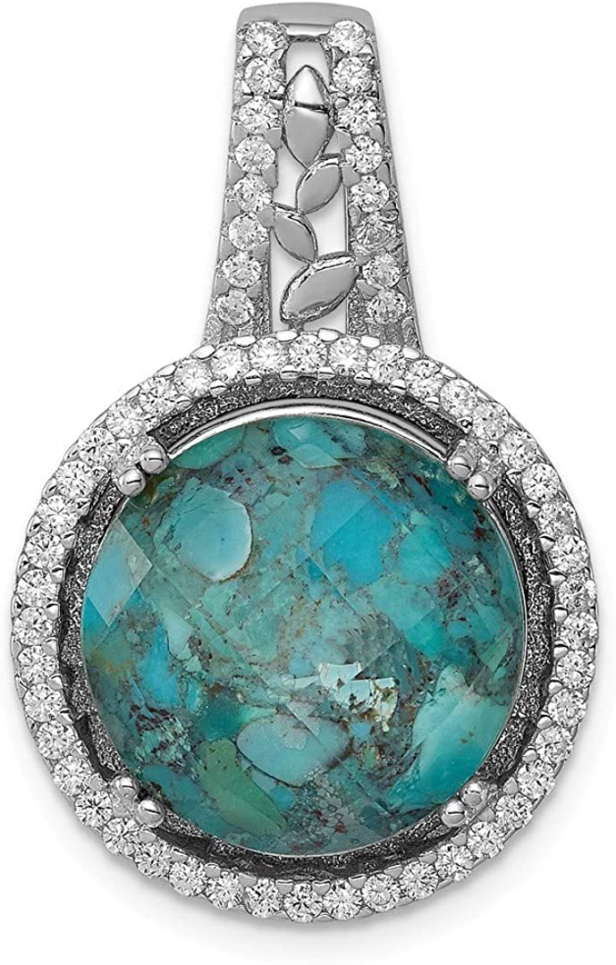925 Sterling Silver Cubic Zirconia Cz Synthetic Blue Turquoise Pendant Charm Necklace Fancy Fine Jewelry Gifts For Women For Her