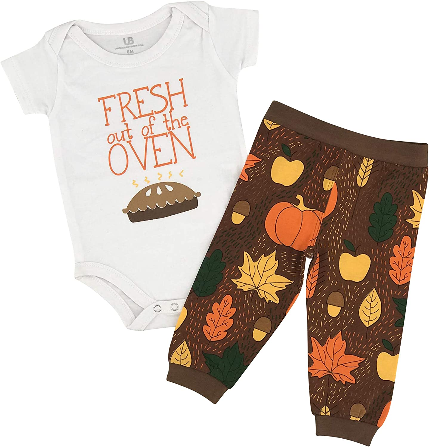 Unique Baby Unisex Fresh Out of The Oven 1st Thanksgiving Outfit