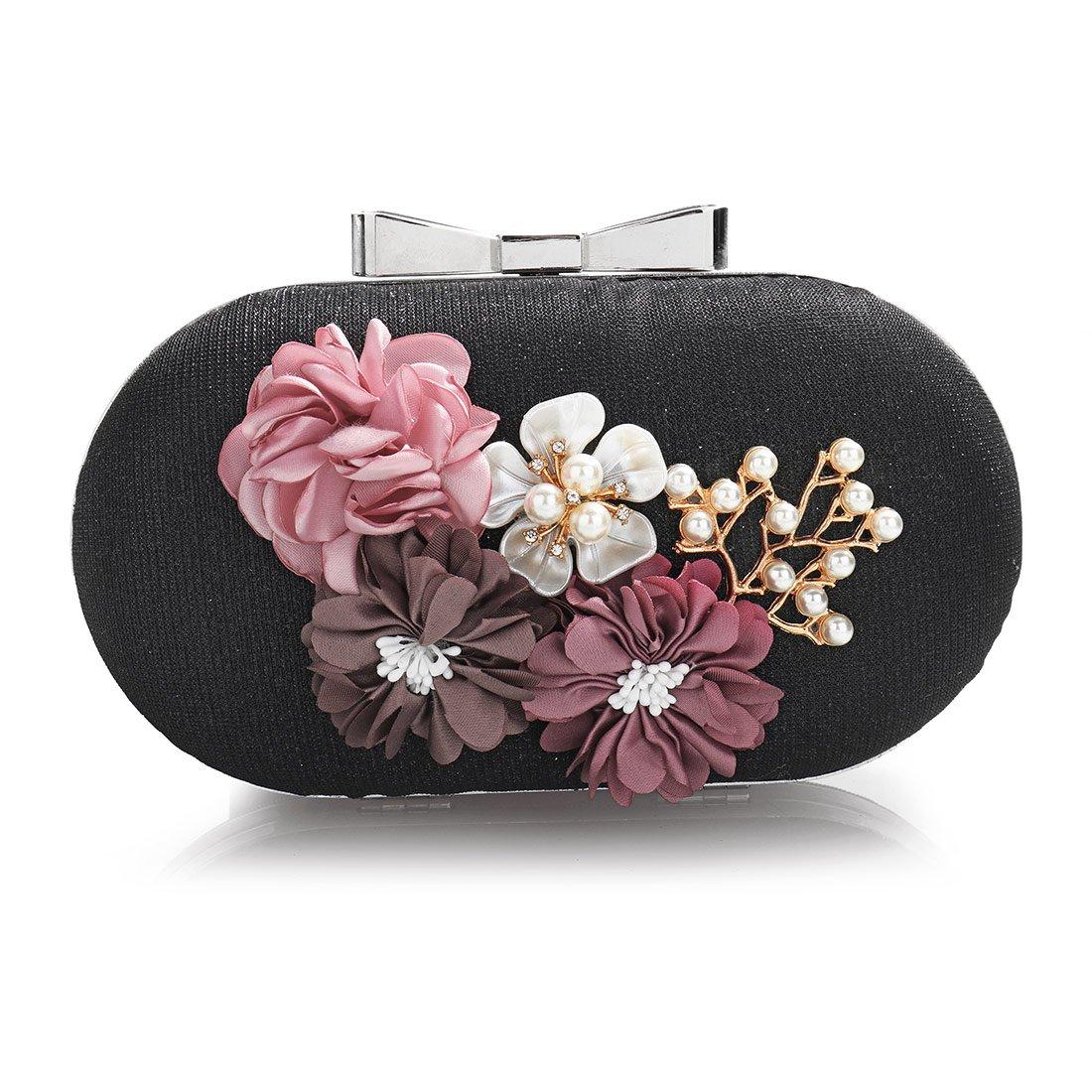 Flower Clutch Purses, Women Stylish Leather Pearl Rhinestone Evening Bag Floral Prom Bride Wedding Handbag (Black)